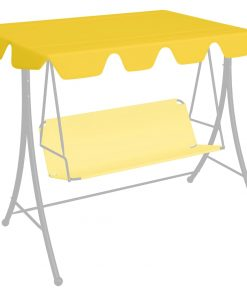 vidaXL udskiftelig baldakin til gyngesofa 192×147 cm 270 g/m² gul