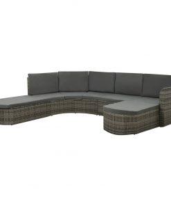 vidaXL loungesæt til haven 4 dele med hynder polyrattan grå